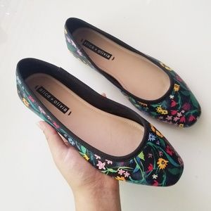 Alice + Olivia Whitney Leather Floral Ballet Flats